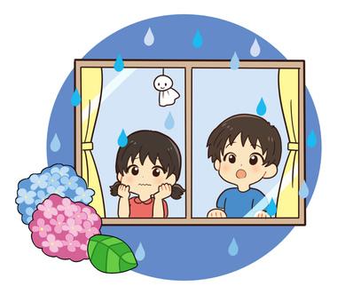 【Rainy season】 Child waiting for the rainy season