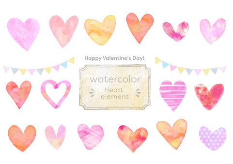 Water color material 047 Heart set