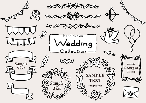 Hand-drawn decoration Wedding collection