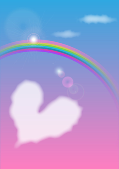 Illustration of rainbow and heart cloud