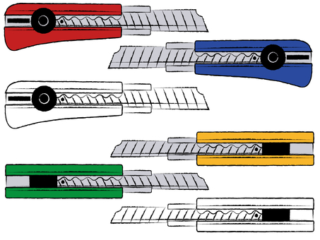 커터 나이프 4 색 세트 소재