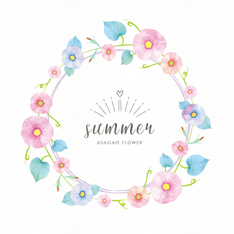 Summer background frame 077 morning glory watercolor circle
