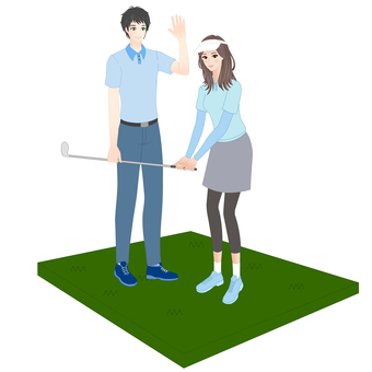 Woman taking golf lesson