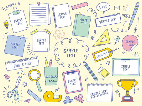 Handwritten stationery illustration set