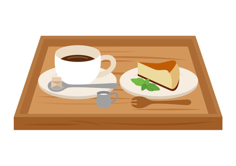 Set of coffee and cheesecake