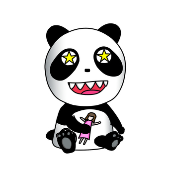 Glitter panda sitting