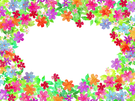 Hand drawn flowers and leaves frame