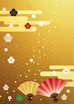 Plum _ and handle _ gold foil _ background