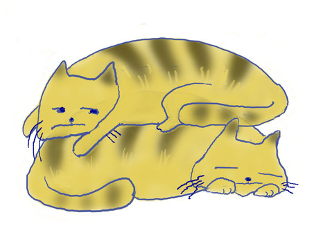 Two cats pile up