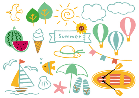 Crayon summer illustration _ color