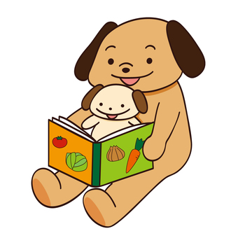 Picture book story-telling dog parent and child