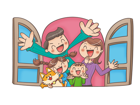 Smiling family at the window
