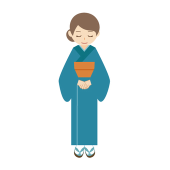 A woman who is lowering his head in kimono