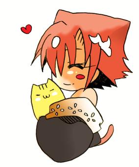 Akari and a cat ☆