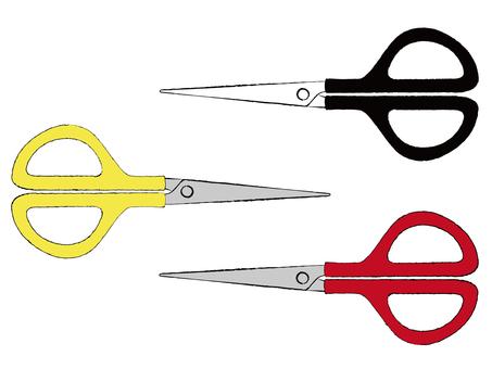 Stationery scissors 3 color set material