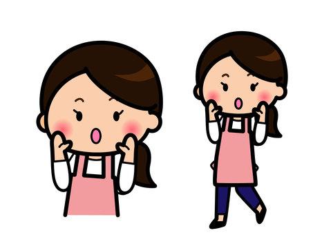 呼びかける主婦のイラスト