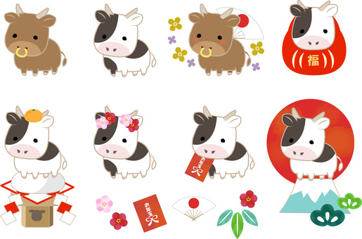Cow New Year's card set