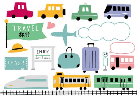 Travel transportation set_hand drawn_color