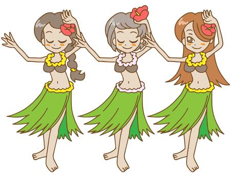 Hula girl x 3