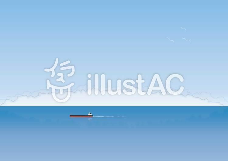 海と船のイラスト
