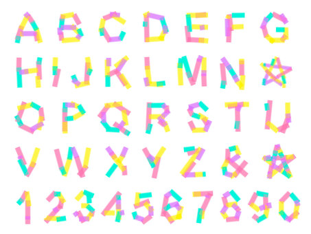 Color tape alphabet