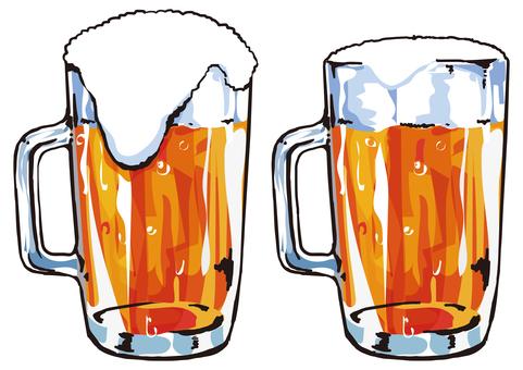 맥주 잔 두 종류