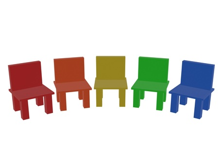 Colorfully arranged chairs