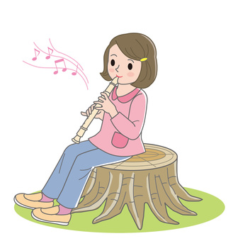 A girl playing a whistle