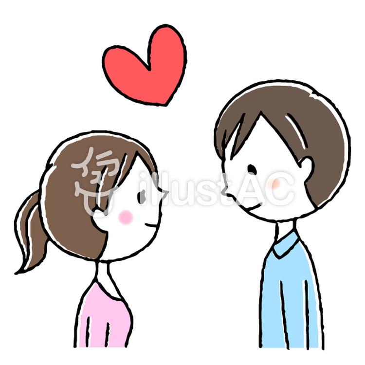 手描きのかわいいカップル男女恋人イラスト No 1379693無料