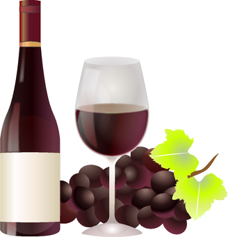 Red wine bottle, glass and grape illustration