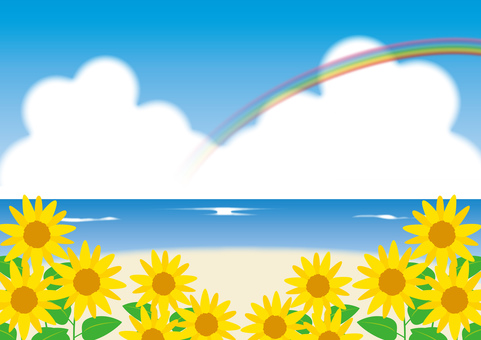 Sunflower _ Sea _ Rainbow Scenery