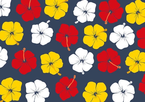Hibiscus pattern red white yellow