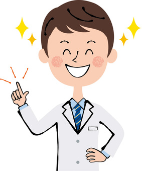 Smile doctor researcher pointing fingers upper body