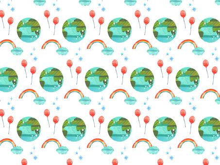 地球と虹と風船