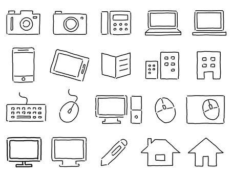 Business rough handwriting icon set