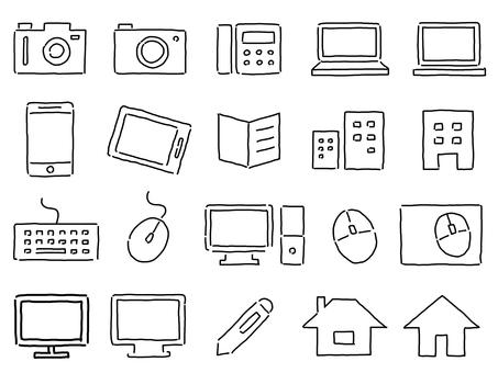 ビジネス系のラフな手書きアイコンセット