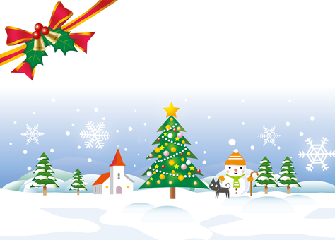 Scenery with Christmas tree