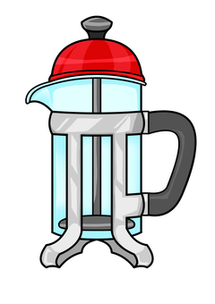 French press (red lid)