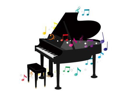 鋼琴和五顏六色的筆記