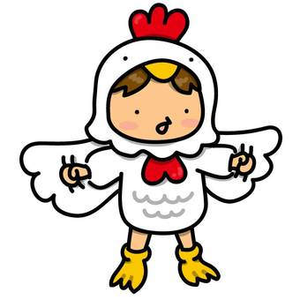 Girls wearing chicken costume