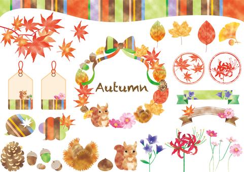 秋素材水彩風