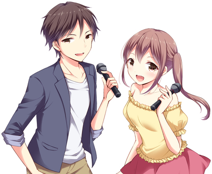 Male and female with microphone