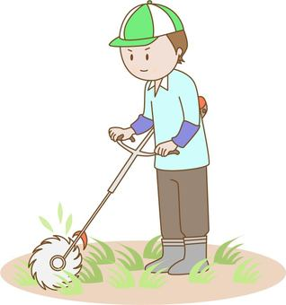 Men who are mowing