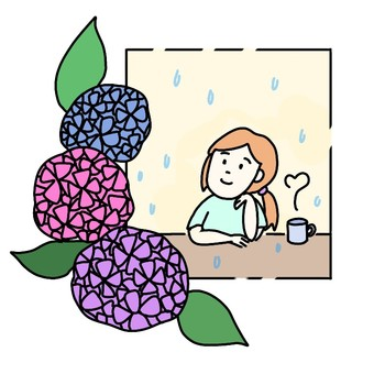 Woman looking at hydrangea from the window