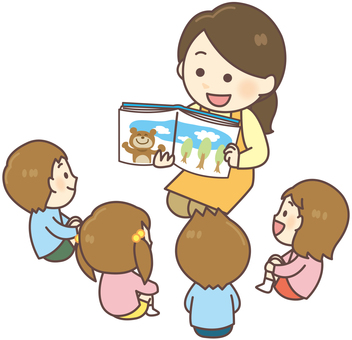Nursery teacher _ reading a picture book 01