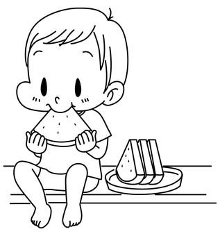 It is a wonderful season of watermelons _ line drawing