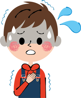 Child sickness chills fear tense anxiety boy