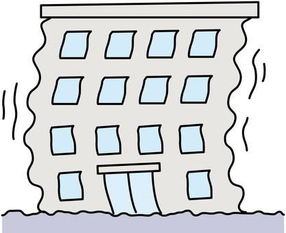 Disaster earthquake building illustration