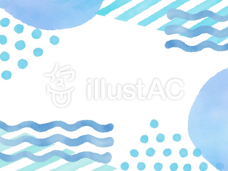 水彩しましま&水玉&波線 組み合わせのイラスト