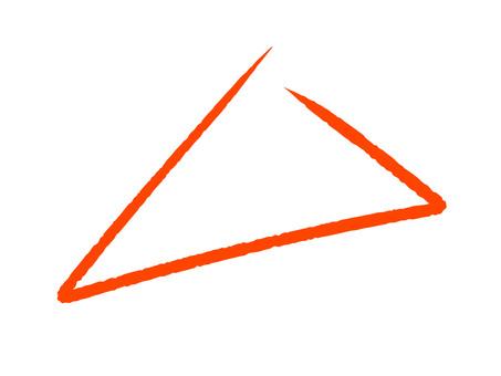手書きの赤い三角イラスト(透過 png)